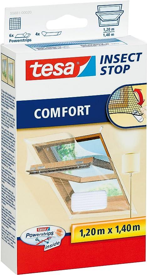 tesa Moustiquaire Comfort Cadre en Alu pour fen/être 1m x 1,20m Blanc