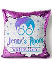 KRAFTYGIFTS Personalised HARRY Wizard Magic Cushion Reveal Sequin Cover Mermaid Case PINK KC71