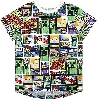 Vanilla Underground Minecraft Overworld Steve Creeper Boy's Short Sleeve T-Shirt (7-8 Years)