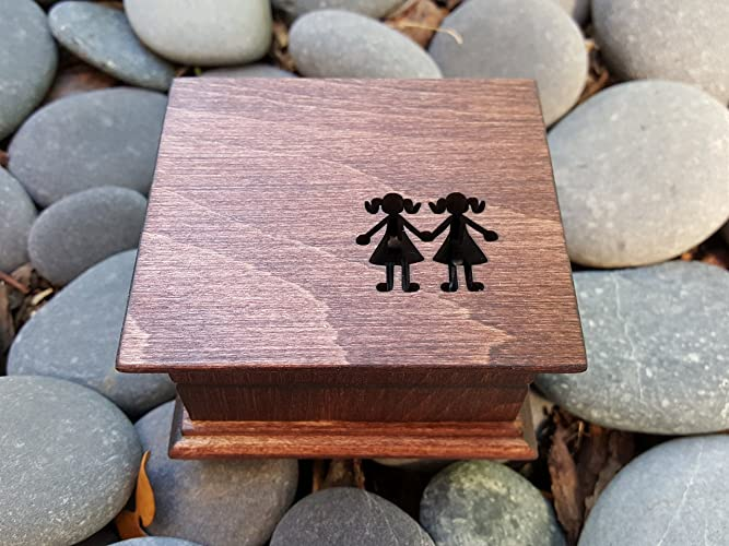 Custom Engraved Music Box With Sisters On The Top Great Birthday Gift For Your