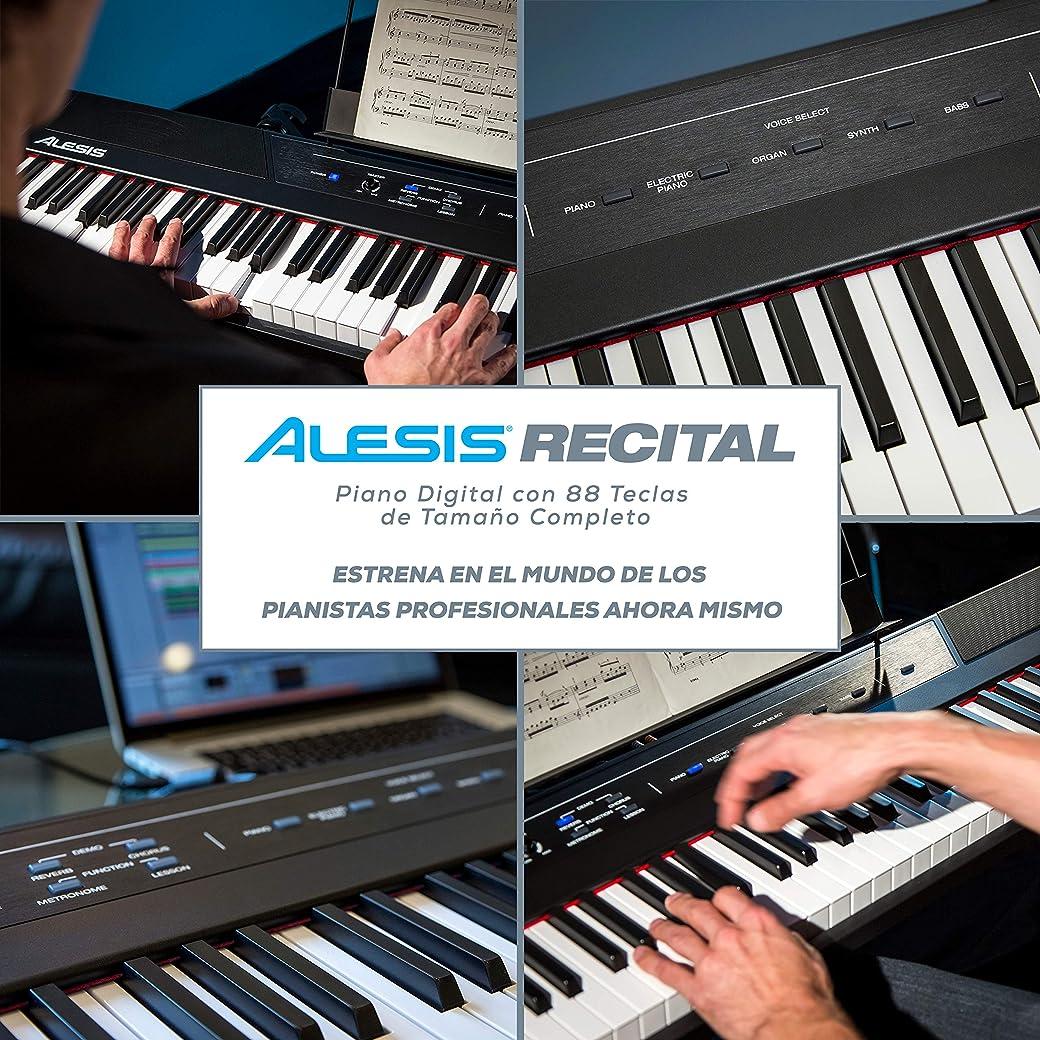 Alesis Recital - Teclado de Piano Digital Eléctrico con 88 Teclas