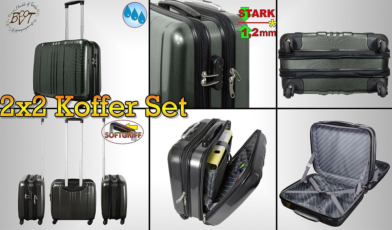4 tlg Koffer-Familien SET, je 2x Reisekoffer schwarz + silber, Reisetasche, Pilotenkoffer-Setangebot, Daypack, Trolli, für Handgepäck, stabiler Teleskop Griff und Rollen