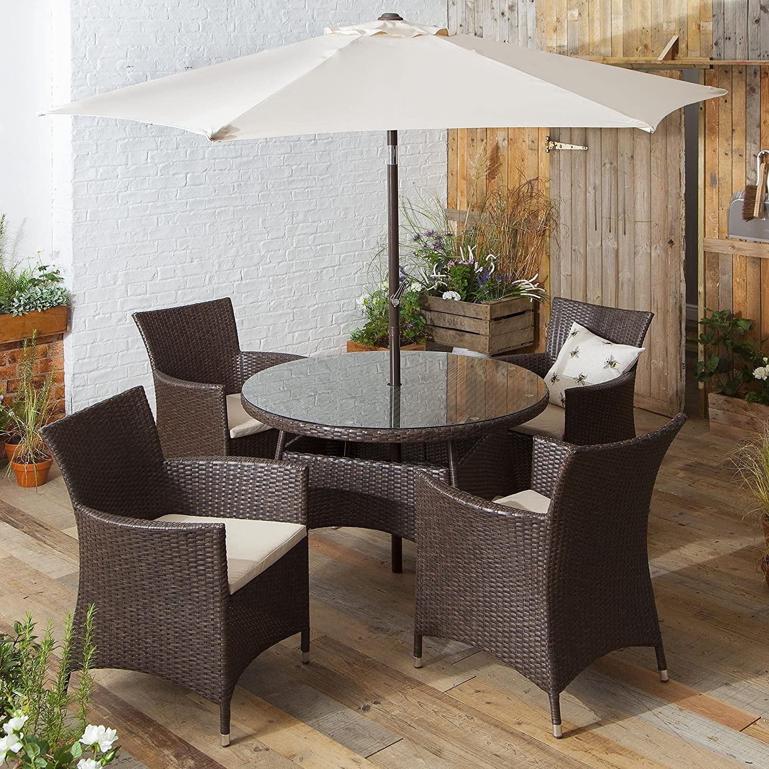 rattan 6 piece garden dining set table with parasol and 4 chairs brown amazoncouk kitchen home