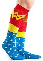 DC Comics Wonder Woman Uniform Knee High Socks,Multi Colored, Fits Shoe Size 4-10/Foot Size 9-11