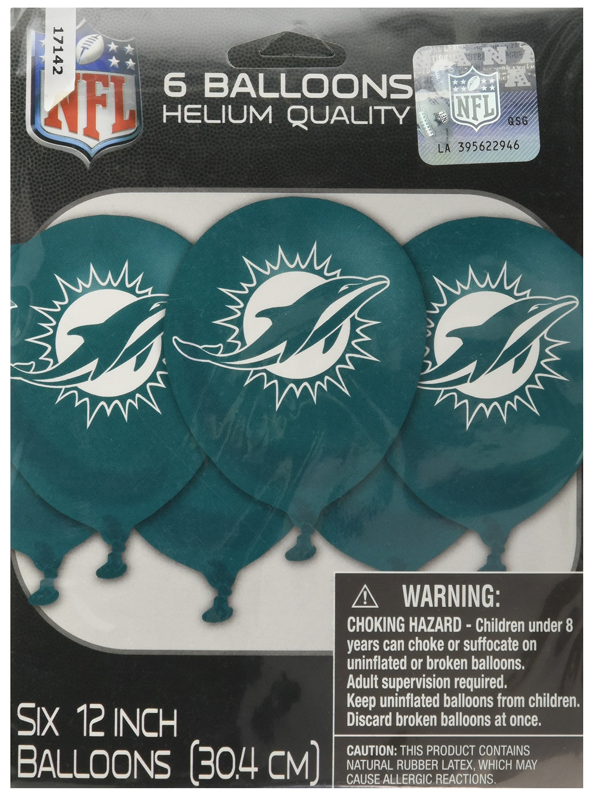 Amscan Printed Balloons NFL Football Sports Childrens Party , Miami Dolphins, 72 Pieces