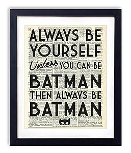 Always Be Batman Super Hero Bedroom Decor, Vintage Dictionary Art Print, Fun Kids Bedroom Neutral Wall Decor, Children's Room and Nursery Prints, Art Print Poster Wall Decor 8x10 inches, Unframed