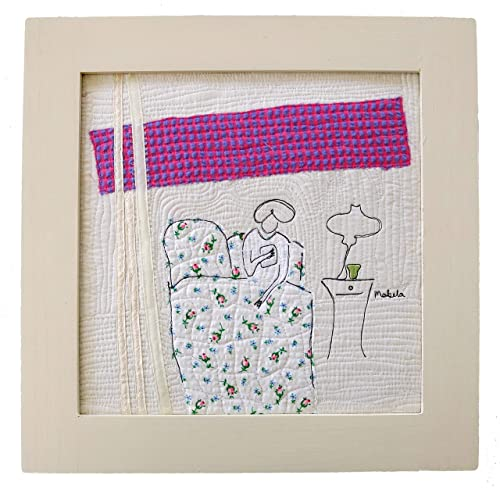 """Quilted Thread Painting. Mini Art Quilt.""""B B"""""""