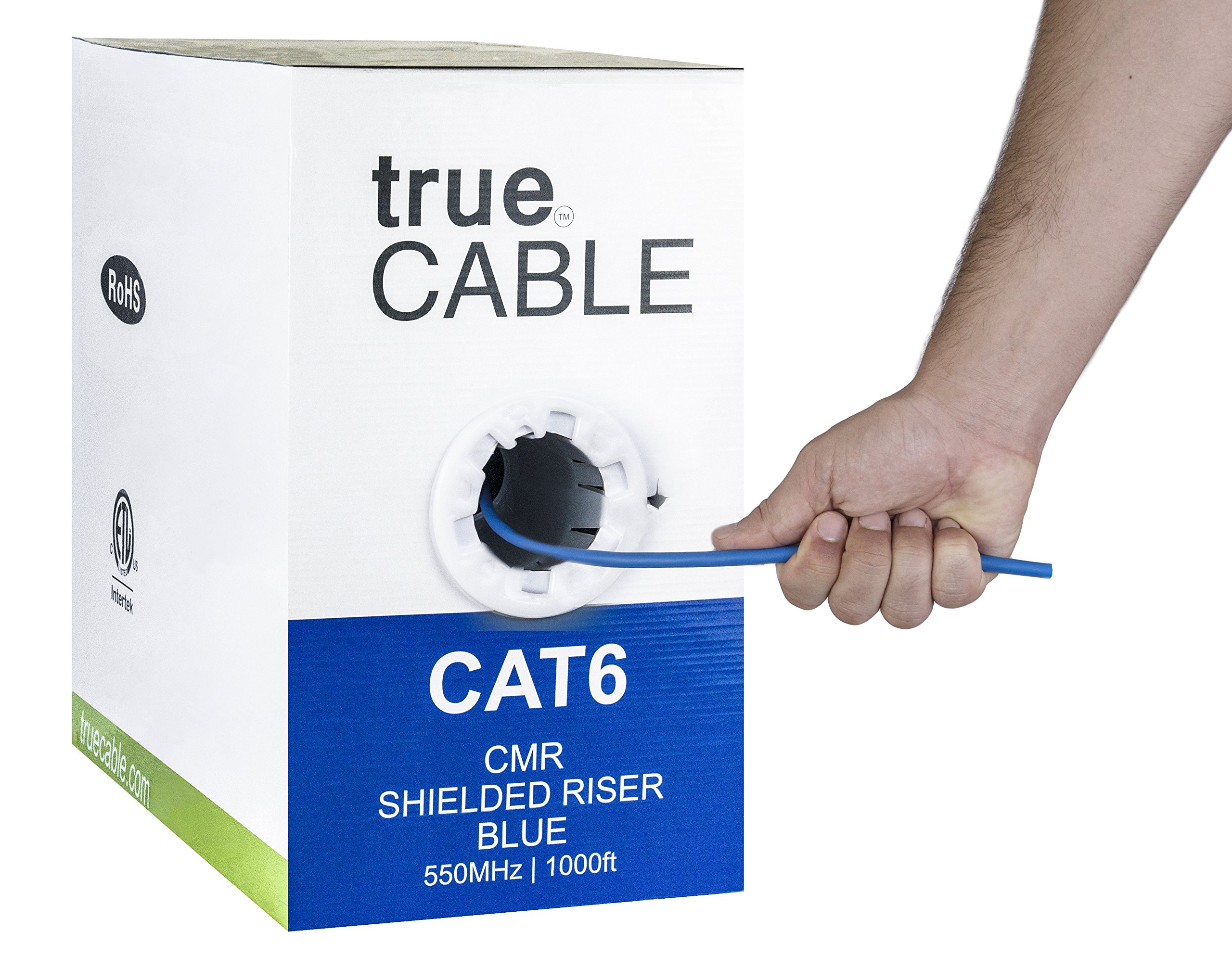 Cat6 Shielded Riser (CMR), 1000ft, Blue, Solid Bare Copper Bulk Ethernet Cable, 550MHz, ETL Listed, 23AWG, Overall Foil Shield (FTP), trueCABLE