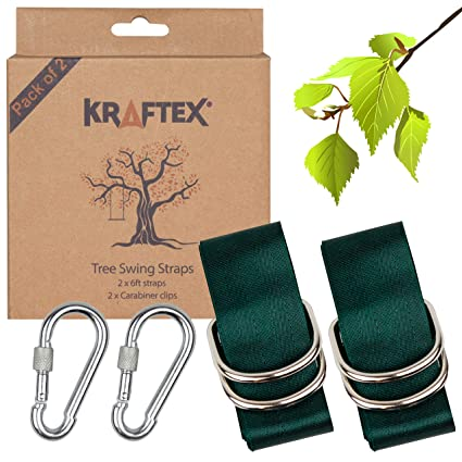 Kraftex Tree Swing Straps 2 Pack 6ft Long Adjustable Straps With 2 Heavy Duty Carabiners Easy Tree Swing Straps Hanging Kit For Wooden Swing