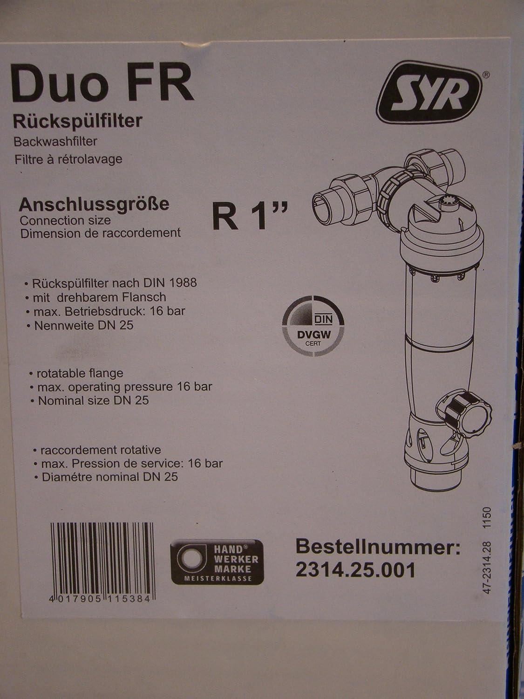 DN20 ohne Druckminderer Nr 2314.20.001 Syr R/ücksp/ülfilter DUO FR 3//4