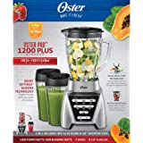 Oster Pro 1200 Plus Dual Direction Blade 7 Speed 2-in-1 Blender with 2 24-oz Smoothie Cups and Glass Jar, Brushed Nickel