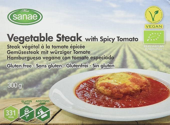 Menú Sanae Hamburguesa Vegana Con Tomate Especiado - 4 Paquetes de 300 gr - Total: