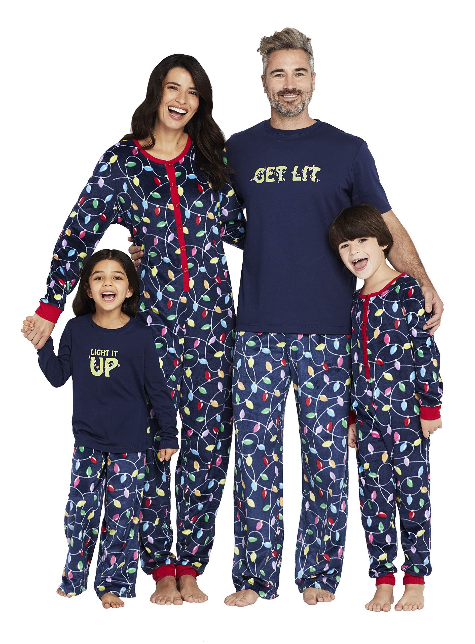 Karen Neuburger Women's ''Get Lit'' Family Matching Christmas Holiday Pajama Sets PJ, Mom 1X, Multicolor Light Bulbs Blue Combo Pj - Get Lit by Karen Neuburger