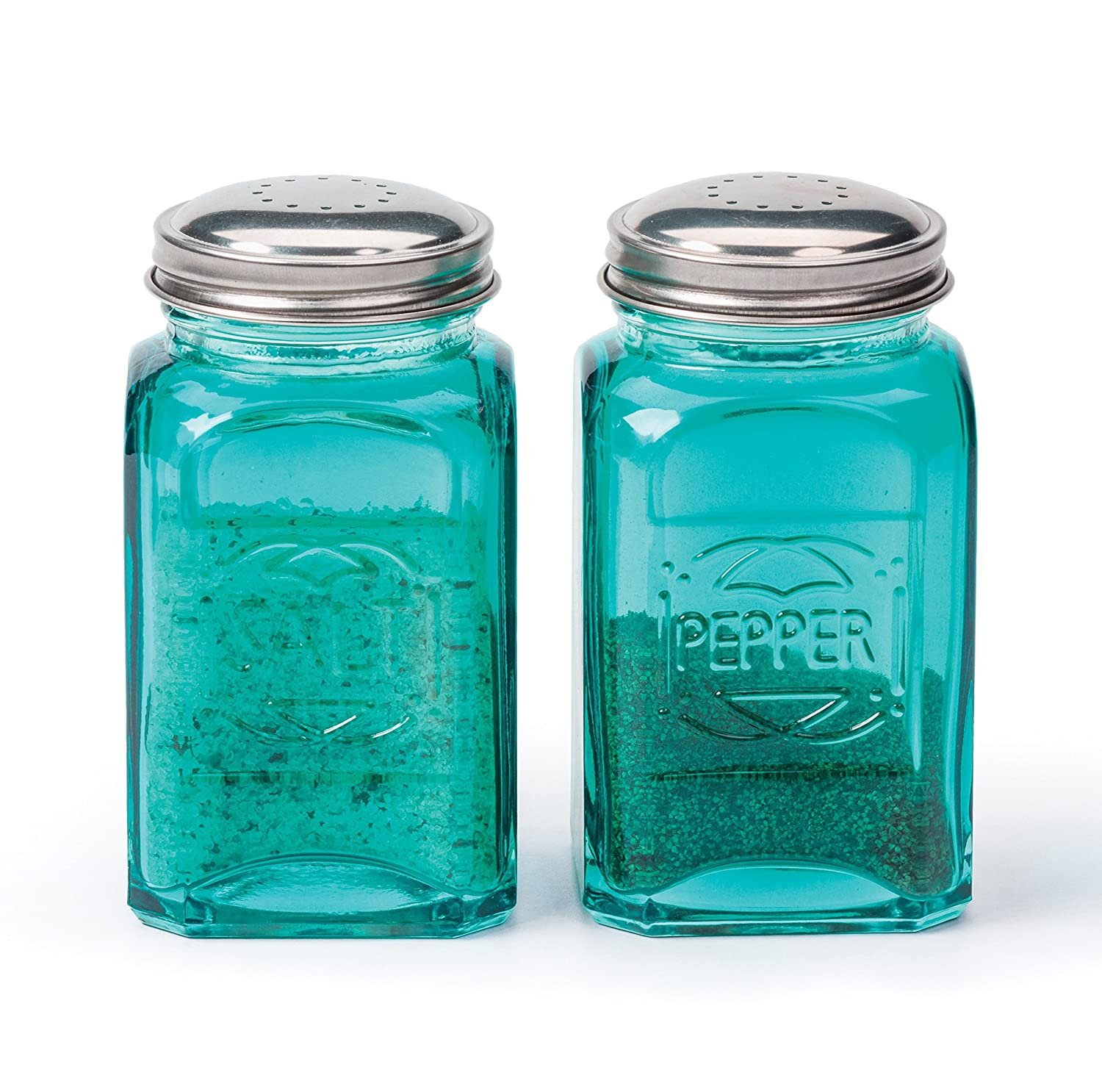RSVP Retro Salt and Pepper Shakers, Turquoise
