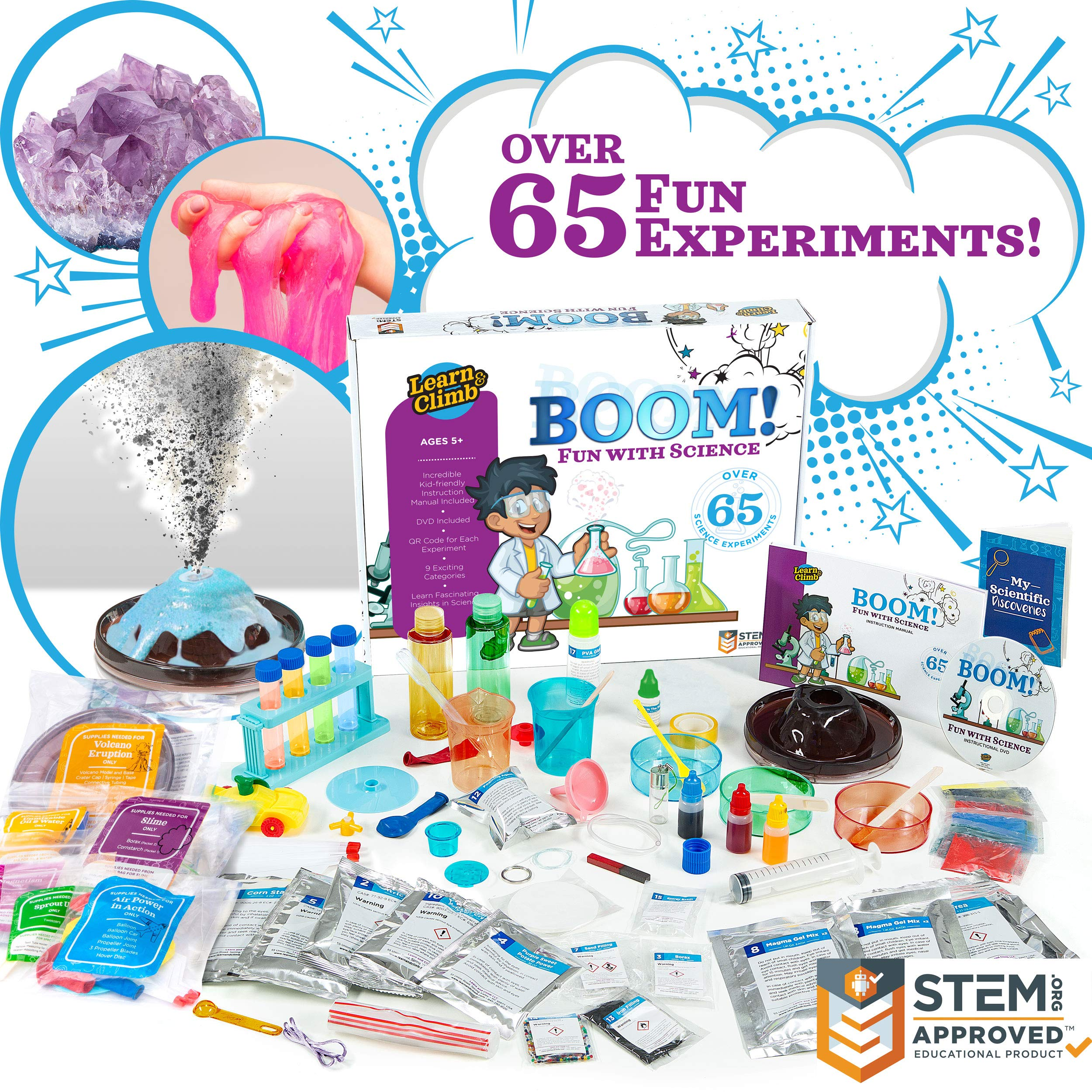 Learn & Climb Over 65 Experiments Kit, How-to DVD and Instruction Manual.Year-Round Fun Educational Science Activities ...