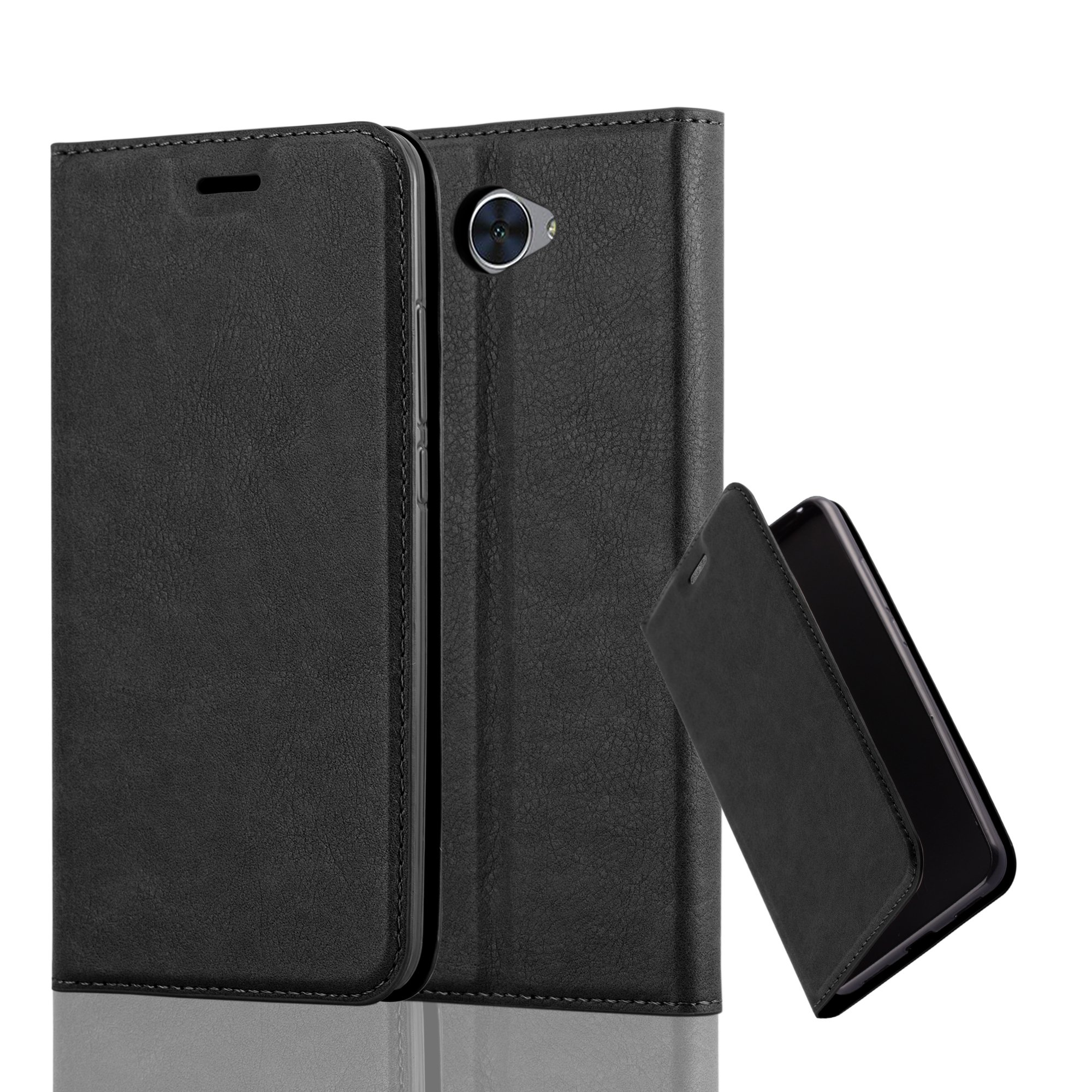 Cadorabo Case works with Huawei Y7 Book Case in NIGHT BLACK (Design INVISIBLE CLOSURE) – with Magnetic Closure, Stand Function and Card Slot – Wallet Case Etui Cover PU Leather