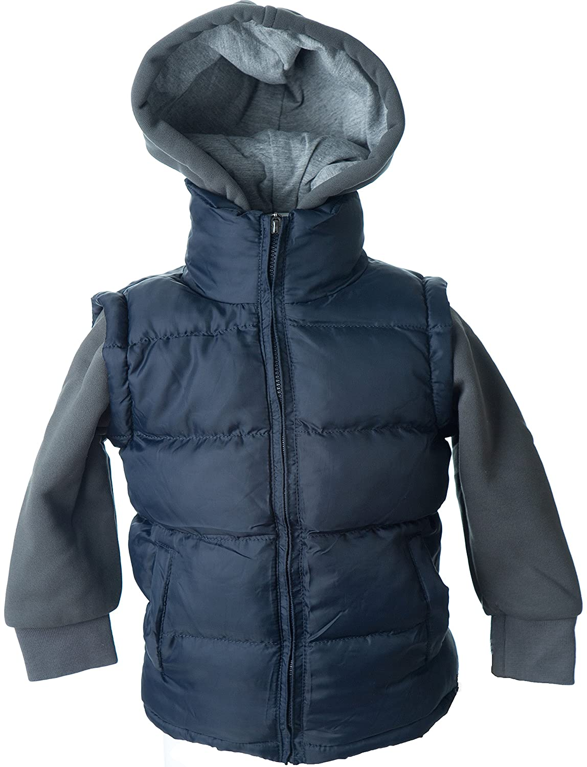 Lion Force Boys' Puffer Vest Jacket With Fleece Hood and Sleeves 1010B-BK-NV-GY