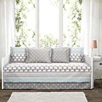 """Lush Decor Décor Elephant Stripe 6 Piece Daybed Cover Set, 39""""X75"""", Turquoise & Pink"""