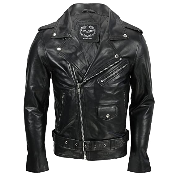 d17f394a0e0e Mens Waxed Soft Real Leather Black Biker Jacket Vintage Classic Motorcycle  Rider Style  Black