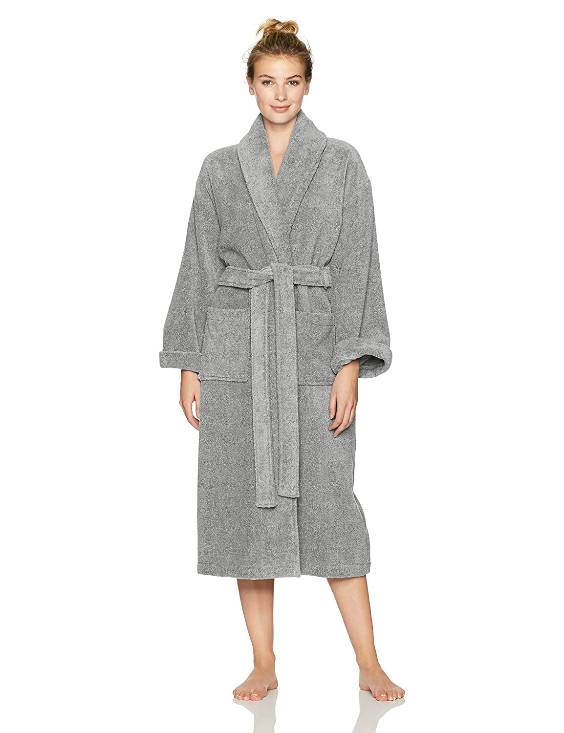 Pinzon Terry Cotton Bathrobe, Platinum, Medium/Large