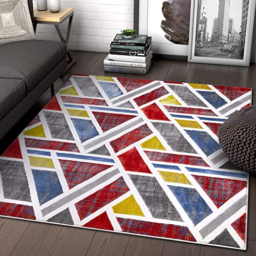 Multi Red Blue Yellow Gold Modern Geometric High-Low Pile Area Rug 8×11 7 10 x 9 10 Art Deco Triangle Bright Carpet