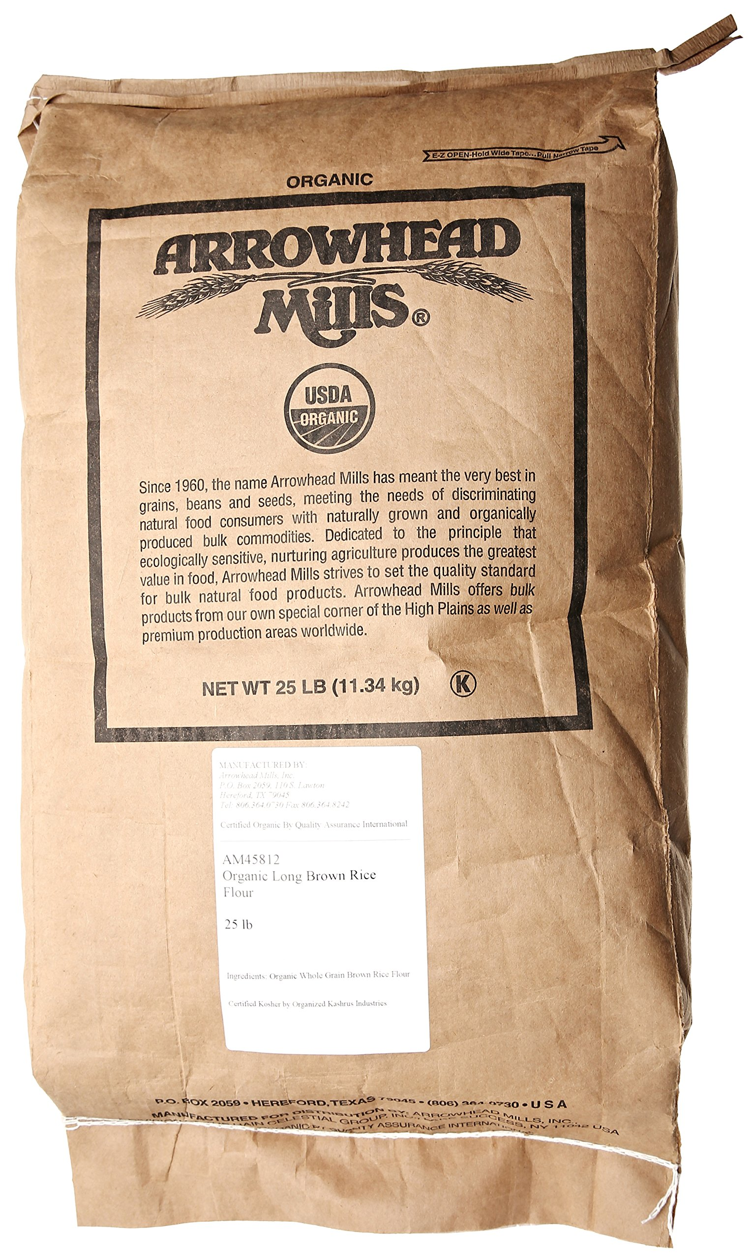 Arrowhead Mills Organic Brown Rice Flour, 25 lb