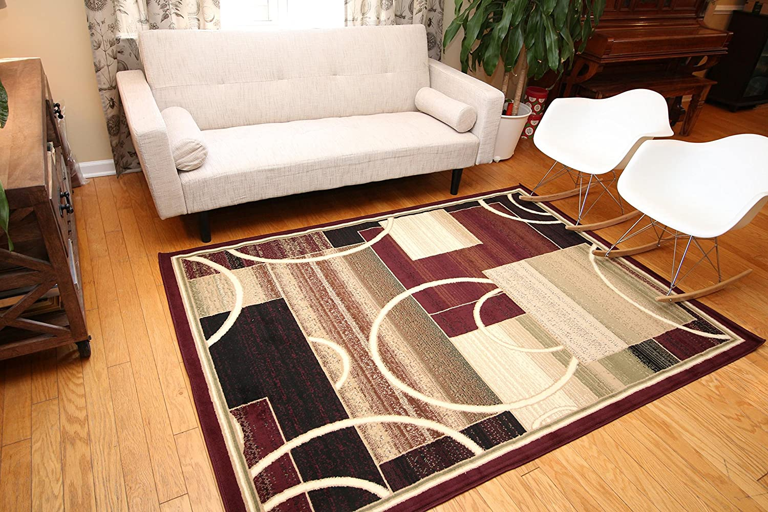 Amazon com generations contemporary modern square and circles area rug 9 x 12 red burgundy kitchen dining