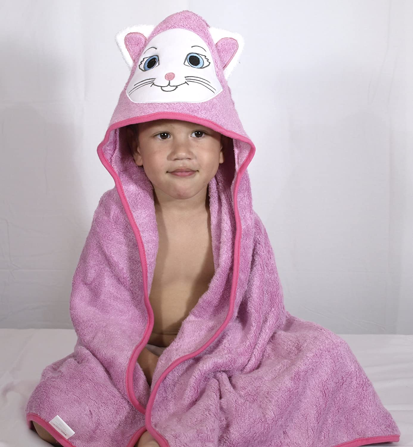 Premium Toddler to Kids Hooded Beach and Bath Towel | Organic Bamboo | Large 35.4 by 35.4 inch | Kitty...