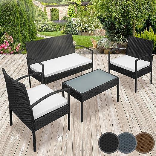 Miadomodo – Conjunto de muebles de poliratán para jardín – 1 mesa, 2 sillones individuales, 1 sillón de dos plazas con cojines – colores a elegir