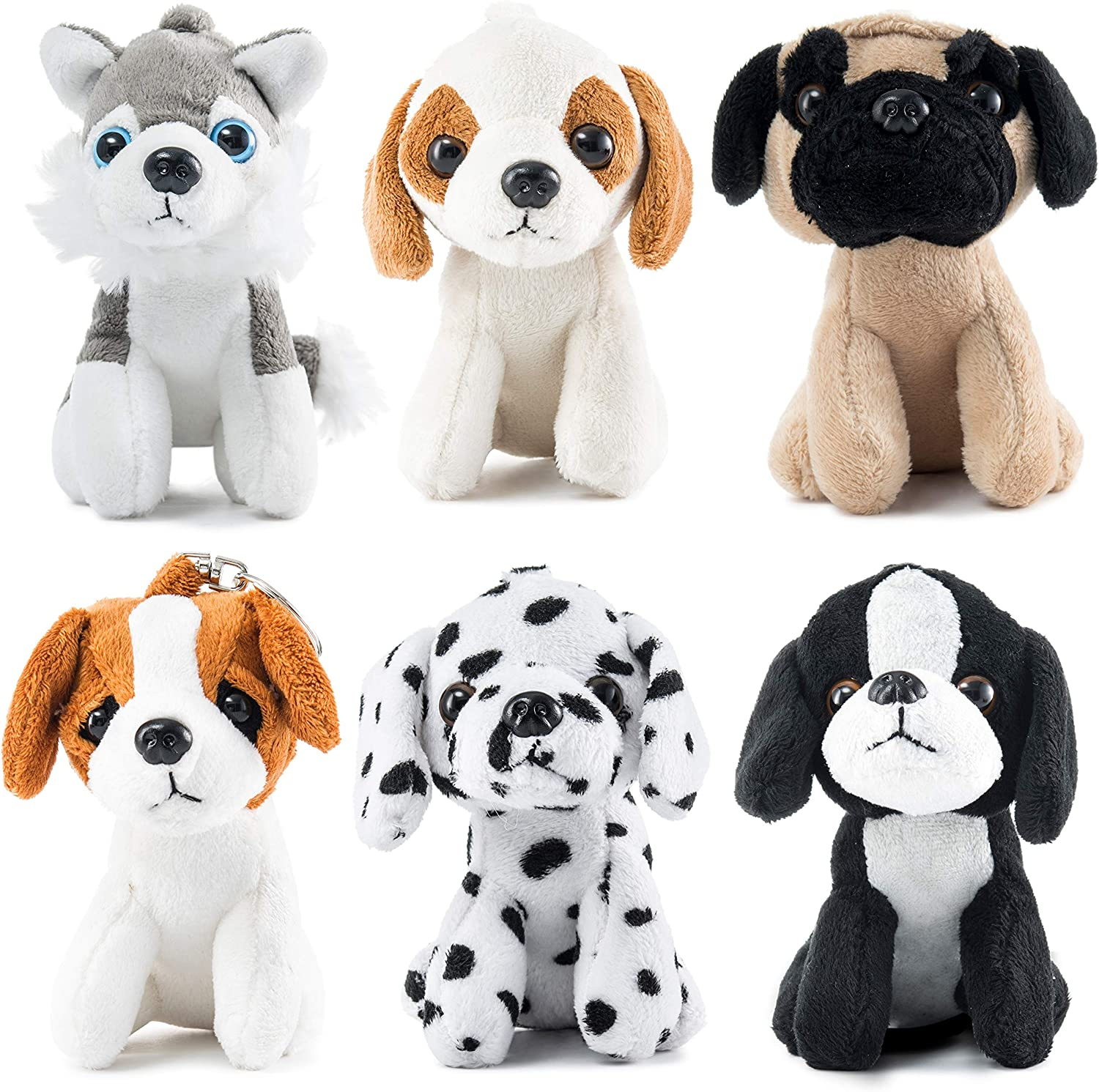 Set Of Dog Stuffed Animals, Amazon Com Prextex Plush Puppies Set Of 6 Realistic Looking 5 Inch Cute And Cozy Stuffed Animals Little Plush Dogs With Keychain Toys Games