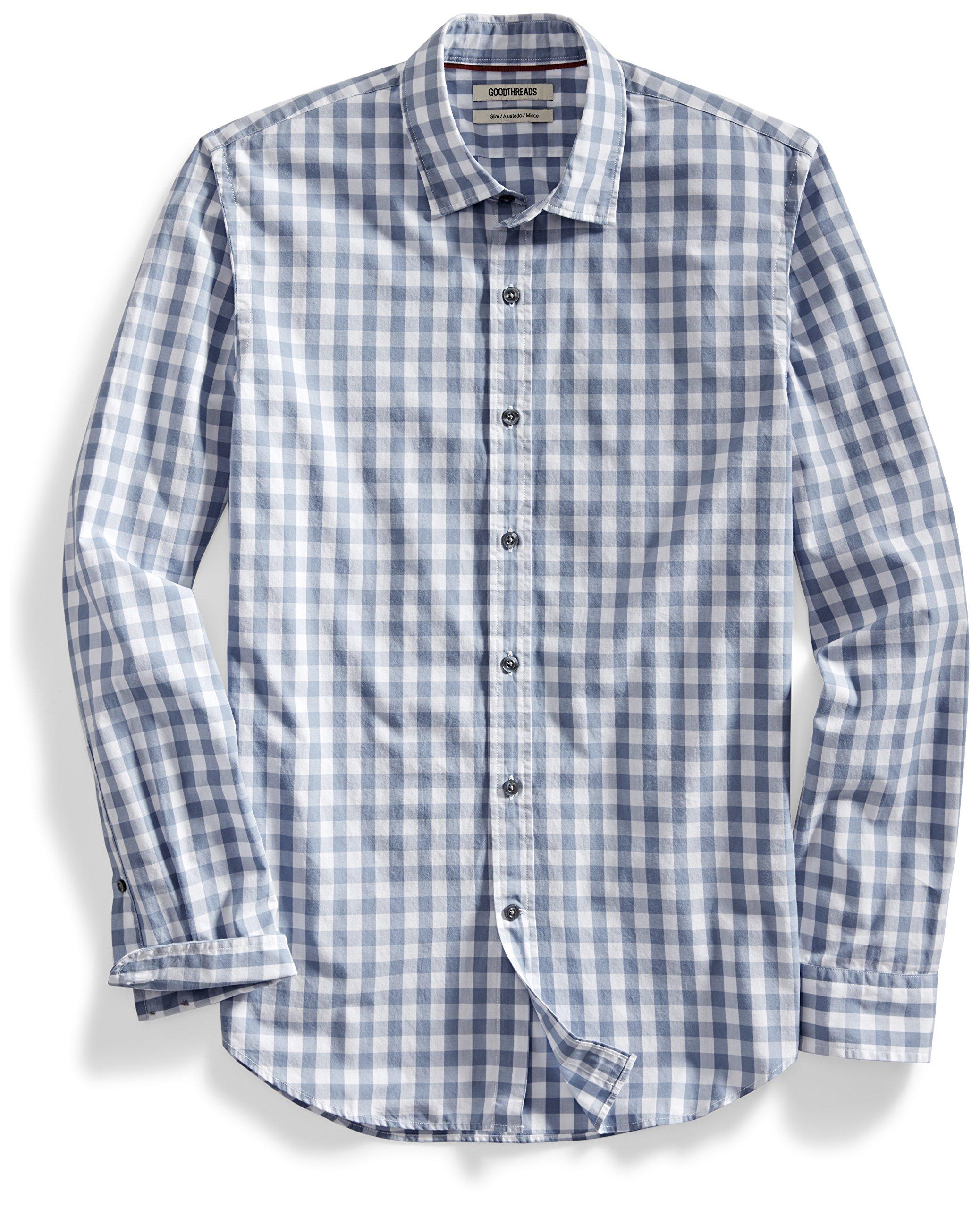 Goodthreads Men's Slim-Fit Long-Sleeve Gingham Plaid Poplin Shirt, Grey/White, Medium Tall