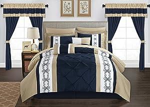 Chic Home BCS03331-AN 20 Piece Icaria Comforter Set, King, Navy