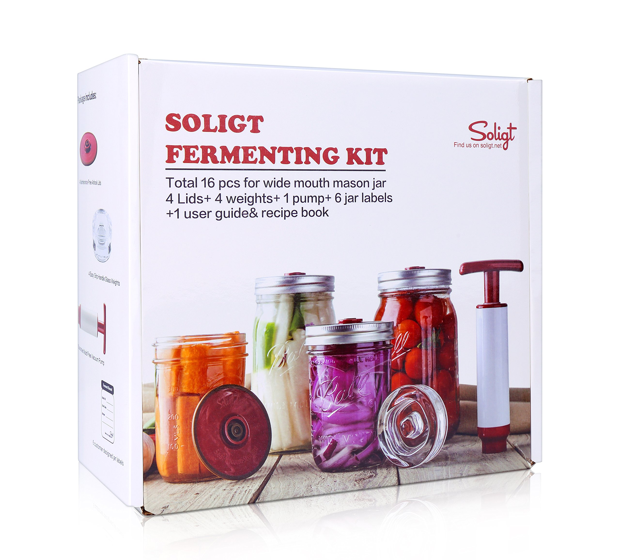Fermentation Kit for Wide Mouth Mason Jars, 4 Glass Weights+ 4 Lids+1 Pump+ 6 Ferment Record Labels+ Recipe Book by SOLIGT