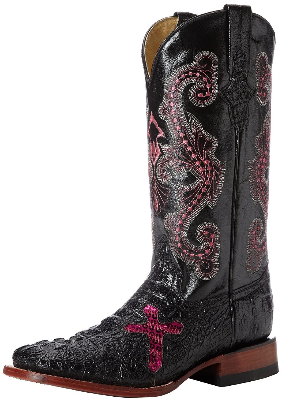 Ferrini Women's Print Crocodile S-Toe Western Boot B00D08KB30 7 B(M) US|Black/Pink Cross