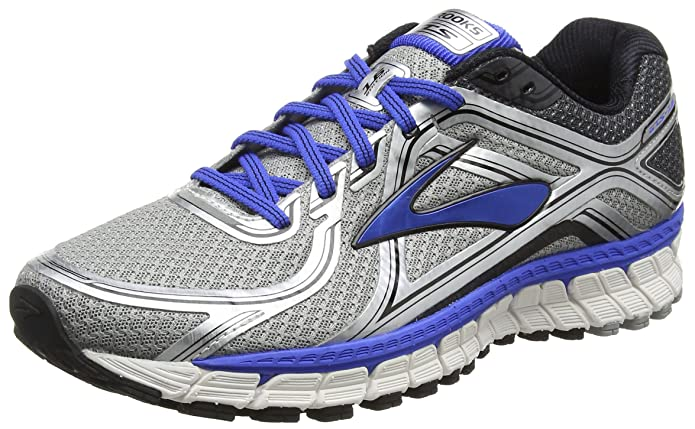 Brooks Men's Adrenaline GTS 16 Silver/Electric Brooks Blue/Black Sneaker 10.5 4E - Extra Wide