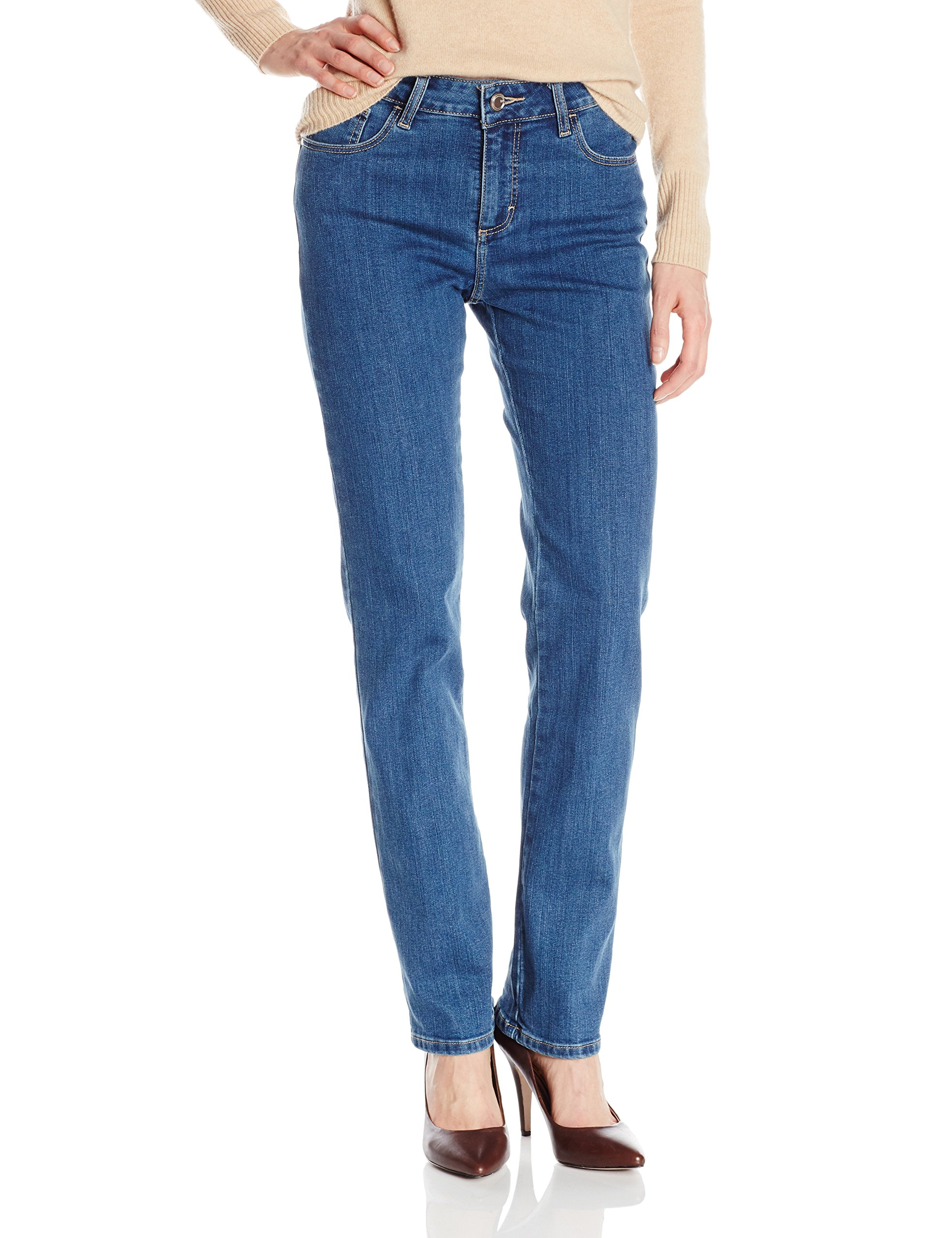 LEE Women's Instantly Slims Classic Relaxed Fit Monroe Straight Leg Jean, Seattle, 14 Short