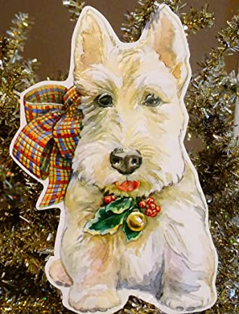 Amazon Com White Scotty Scottie Dog Christmas Holiday Greeting