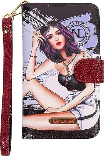 Nicole Lee Funda Universal para celular DIVSHA estampada estilo cartera con correa para muñeca SS20