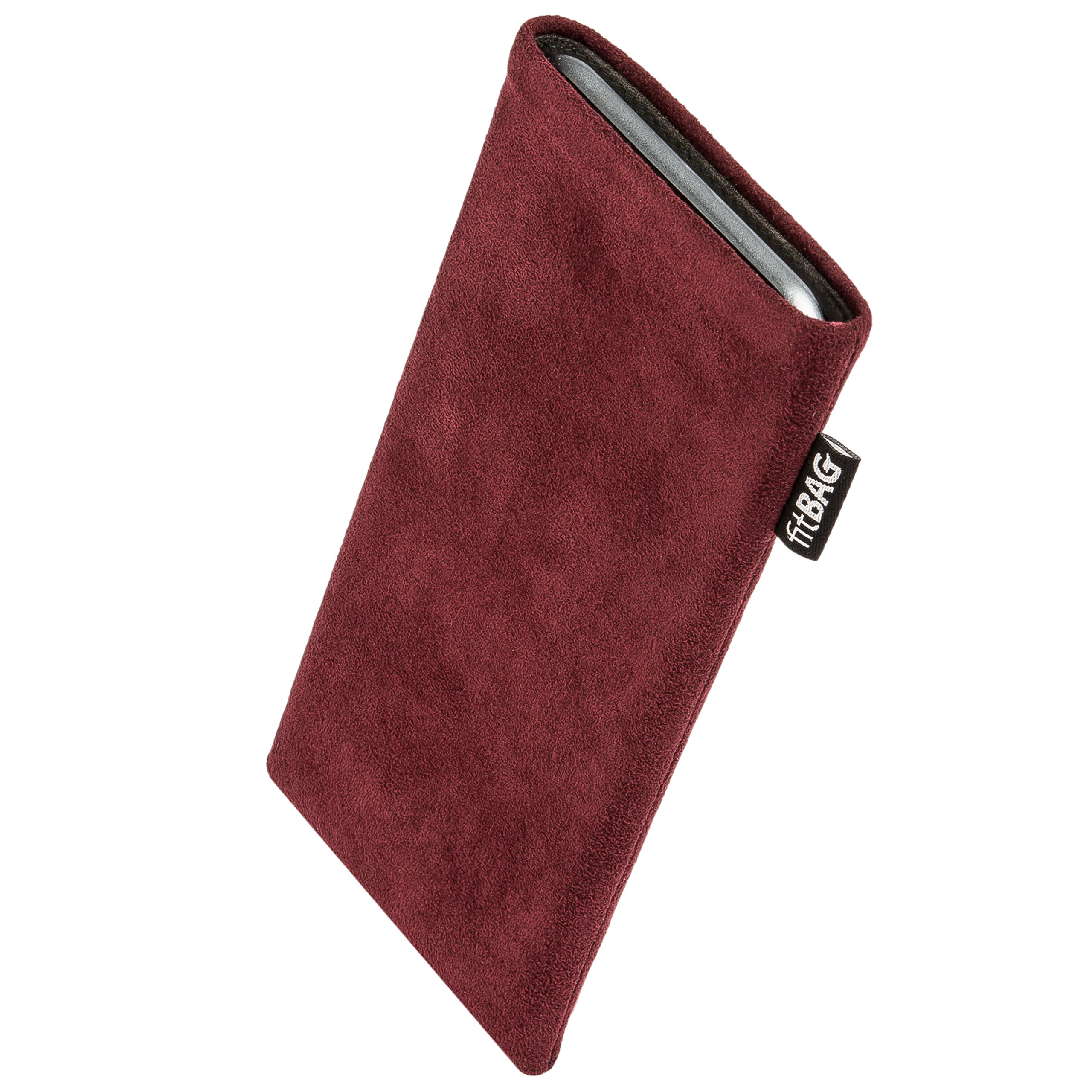 fitBAG Classic Burgundy Custom Tailored Sleeve for Nokia 9 PureView (2019) | Made in Germany | Genuine Alcantara Pouch case Cover with Microfibre Lining for Display Cleaning