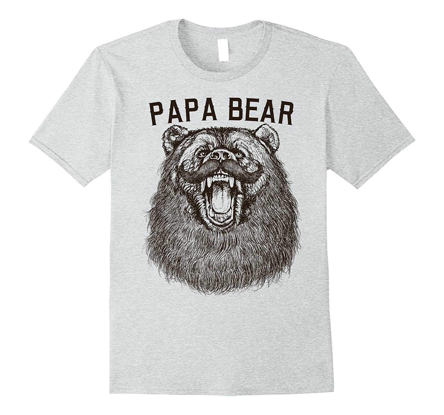Mens Papa Bear Mustache Grizzly Vintage Graphic T-Shirt-ah my shirt one gift