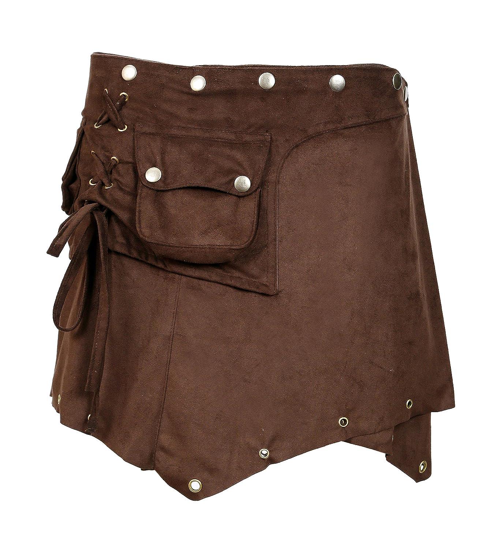 Avvolgere intorno Style con chiusura a bottone design TATTOPANI Signore Suede Mini Skirt
