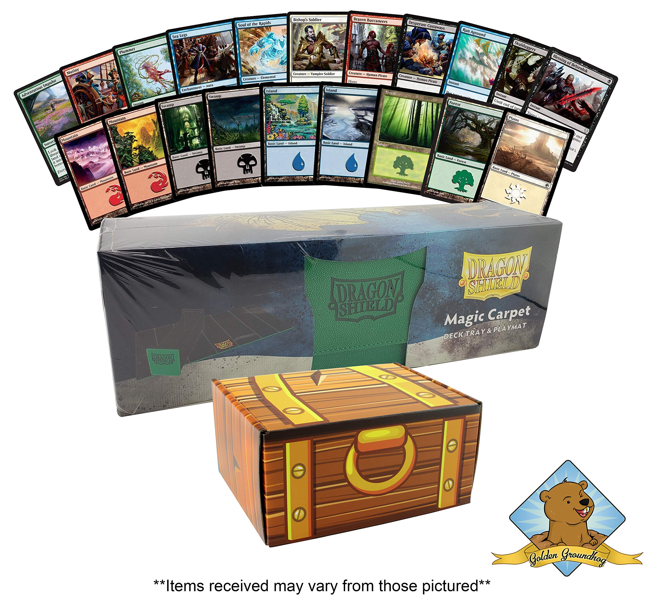 1000 Assorted Magic: The Gathering Card Cube Collection Lot - Featuring 200 Lands - 800 Common/Uncommon Cards! 1 Dragon Shield Deck Tray & Playmat For Protection! Comes in Golden Groundhog Treasure Ch