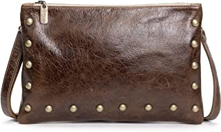 product image for Brown Distressed Italian Studded Leather Large Crossbody Clutch