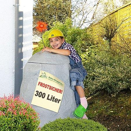 WINTER SCHLU/ß-VERKAUF:Regentonne Fels stein-grau 300l,FROSTSICHERES Regenfass mit Deckel und Wasserhahn DAS ORIGINAL!