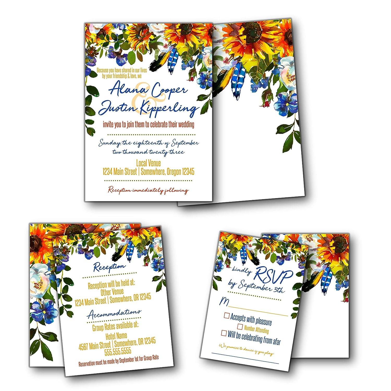 Amazon Boho Feather Sunflower Wedding Invitation Suite