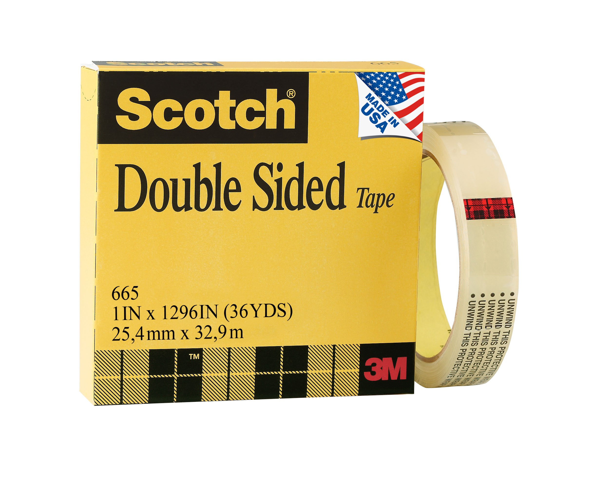Scotch Double Sided Tape, Trusted Favorite, Engineered for Office and Home Use, Wide Width, 1 x 1296 Inches, Boxed (665)