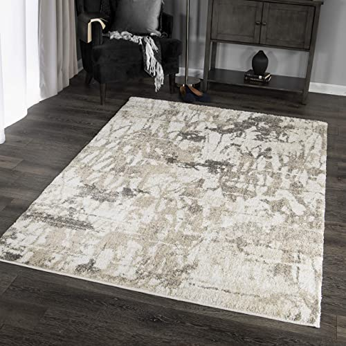 Orian Rugs Super Shag Collection 392371 Abstract Canopy Area Rug, 5 3 x 7 6 , Ivory