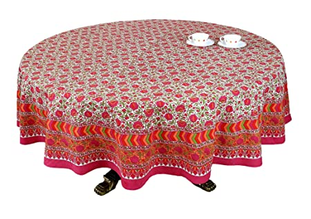 ShalinIndia Cream Pink Red Floral Print Round Tablecloth   90u0026quot; For  6 Seater Table