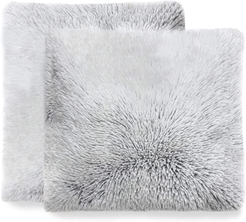 Cheer Collection Set of 2 Shaggy Long Hair Throw Pillows Super Soft and Plush Faux Fur Accent Pillows – 18 x 18 inches, Gray