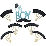 Maydolbone 31pcs Oh Boy Cake Topper Hat Mustache Bowtie Cupcake Toppers- birthday or baby shower Food Picks Decor And Cupcake Party Pick